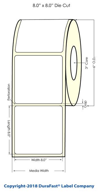 """LX900 8"""" x 8"""" NP Matte BOPP Inkjet Labels 250/Roll (933012)"""