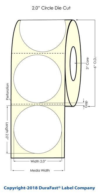 "LX900 2"" Circle Matte BOPP Inkjet Labels 925/Roll (933013)"
