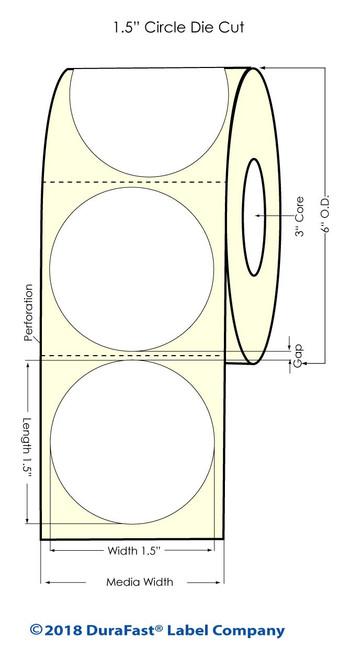 "LX900 1.5"" Circle Matte BOPP Inkjet Labels 1225/Roll (933015)"