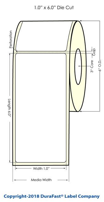 """LX900 1"""" x 6"""" Matte BOPP Inkjet Labels 400/Roll (933017)"""