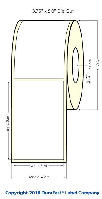 """LX900 3.75"""" x 5"""" NP Matte BOPP Inkjet Labels 450/Roll (933021)"""