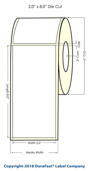 """LX900 2"""" x 8"""" NP Matte BOPP Inkjet Labels 300/Roll (933022)"""