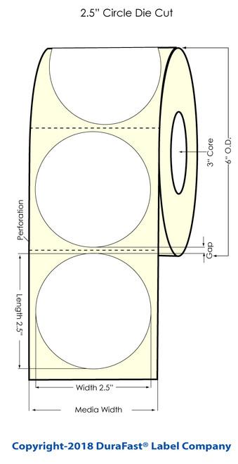 "LX900 2.5"" Circle Glossy BOPP Inkjet Labels 1000/Roll (934001)"