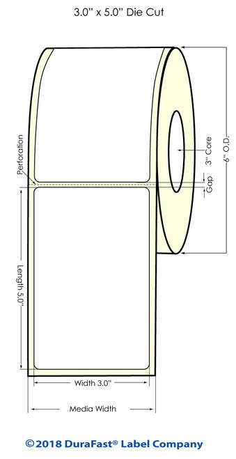 "LX900 3"" x 5"" Glossy BOPP Inkjet Labels 450/Roll (934002)"