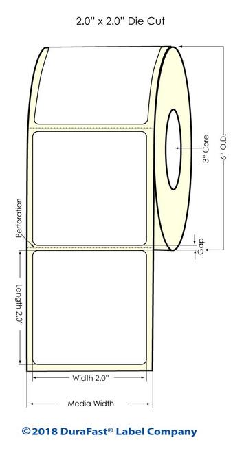 "LX900 2"" x 2"" Glossy BOPP Inkjet Labels 1100/Roll (934003)"