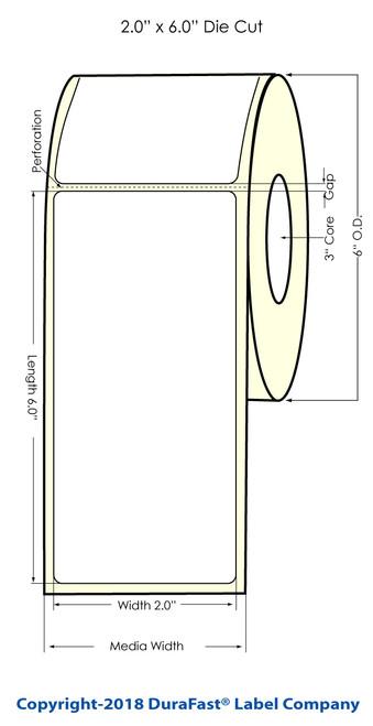 "LX900 2"" x 6"" Glossy BOPP Inkjet Labels 375/Roll (934004)"