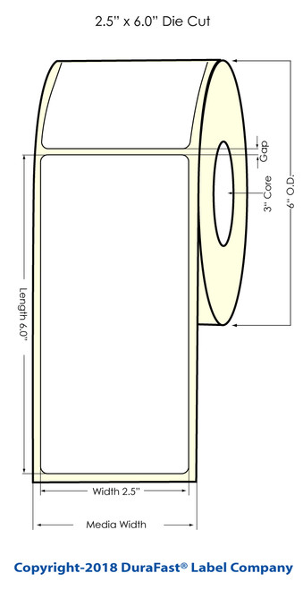 "LX900 2.5"" x 6"" NP Glossy BOPP Inkjet Labels 375/Roll (934005)"