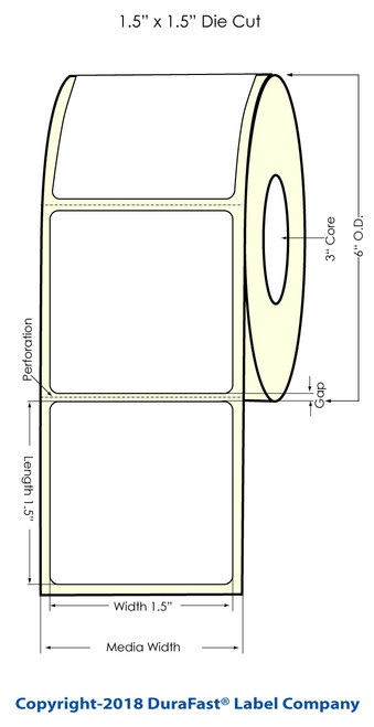 "LX900 1.5 x 1.5"" Glossy BOPP Inkjet Labels 1400/Roll (934008)"