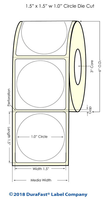 "LX900 1"" Circle (1A) Glossy BOPP Inkjet Labels 1775/Roll (934015)"
