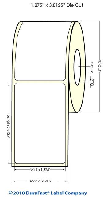 """LX900 1.875"""" x 3.8125"""" NP Glossy BOPP (Es Oil) Inkjet Labels 700/Roll (934018)"""