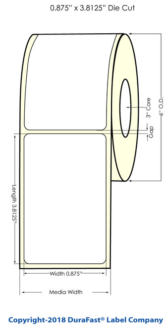"""LX900 0.875"""" x 2.625"""" NP Glossy BOPP (Es Oil) Inkjet Labels 1000/Roll (934019)"""