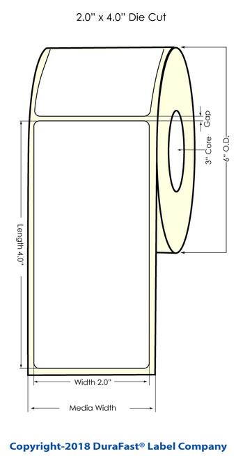 "LX900 2"" x 4"" NP Glossy BOPP Inkjet Labels 620/Roll (934021)"
