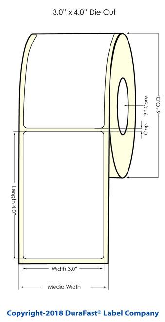 "LX900 3"" x 4"" NP Glossy BOPP Inkjet Labels 640/Roll (934022)"