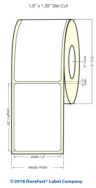 "LX900 1"" x 1.35"" NP Glossy BOPP Inkjet Labels 1700/Roll (934026)"