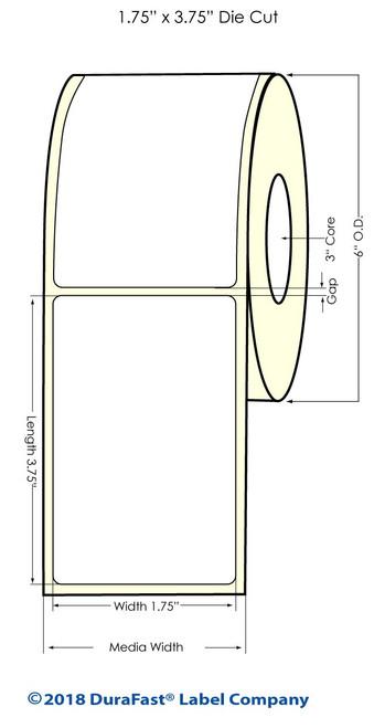 "LX900 1.75"" x 3.75"" NP Glossy BOPP Inkjet Labels 660/Roll (934028)"