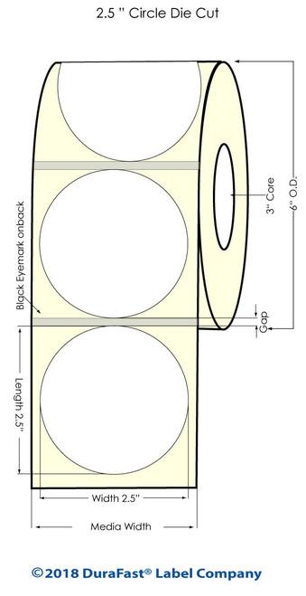 "LX900 2.5"" Circle Glossy BOPP Inkjet Labels 900/Roll (934029)"