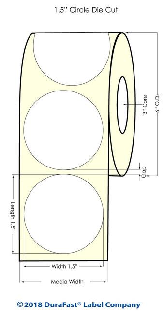 "LX900 1.5"" NP Circle Glossy BOPP Inkjet Labels 1225/Roll (934030)"