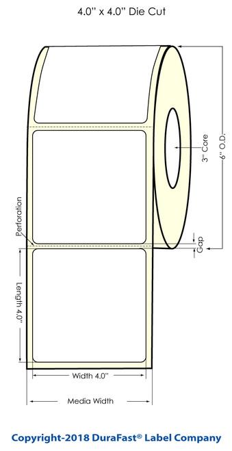 "LX900 4"" x 4"" Glossy BOPP Inkjet Labels 600/Roll (934032)"
