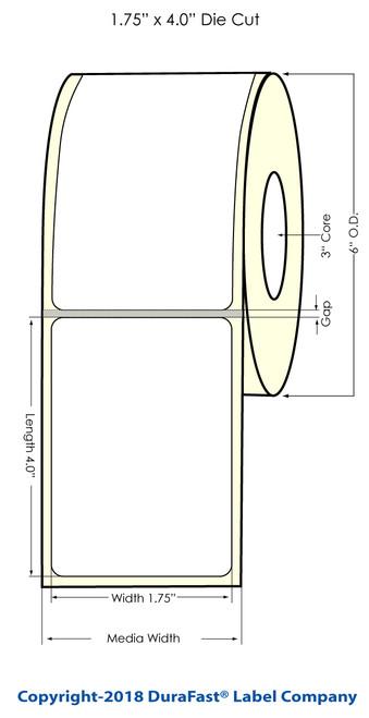 "L801 1.75"" x 4"" NP Glossy BOPP Inkjet Labels 600/Roll (934033)"