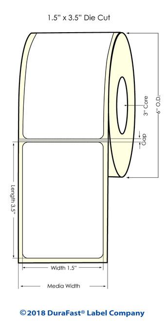 "L801 1.5"" x 3.5"" NP Glossy BOPP Inkjet Labels 700/Roll (934034)"