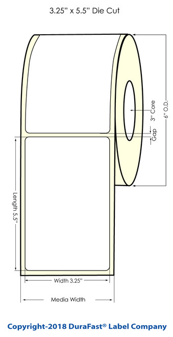 """TM-C7500G 3.25"""" x 5.5"""" NP Glossy BOPP Inkjet Labels 450/Roll (934036)"""