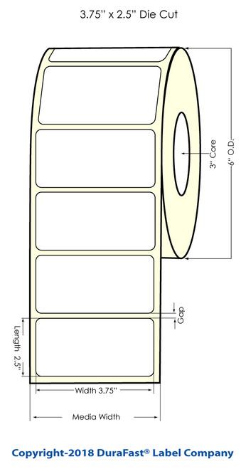 """TM-C7500G 3.75"""" x 2.5"""" NP Glossy BOPP Inkjet Labels 950/Roll (934037)"""