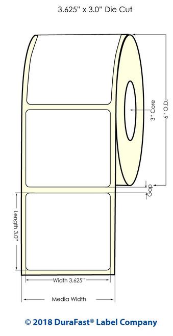 "X900 3.625"" x 3"" NP Glossy BOPP Inkjet Labels 700/Roll (934038)"