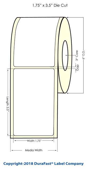 "L301 4"" x 1.2"" Glossy BOPP Inkjet Labels 1800/Roll (934042)"