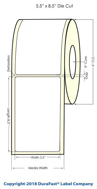 "L301 5.5"" x 8.5"" Glossy BOPP Inkjet Labels 300/Roll (934043)"