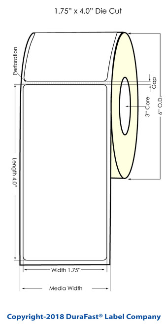 "L801 1.75"" x 4"" Glossy BOPP Inkjet Labels 600/Roll (934045)"