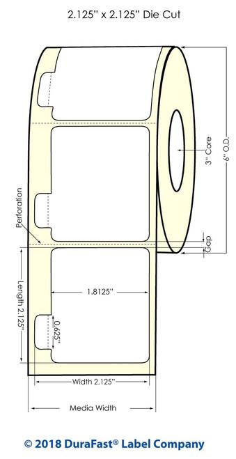 """TM-C7500G 2.125"""" x 2.125"""" Glossy BOPP Inkjet Labels 1100/Roll (934046)"""