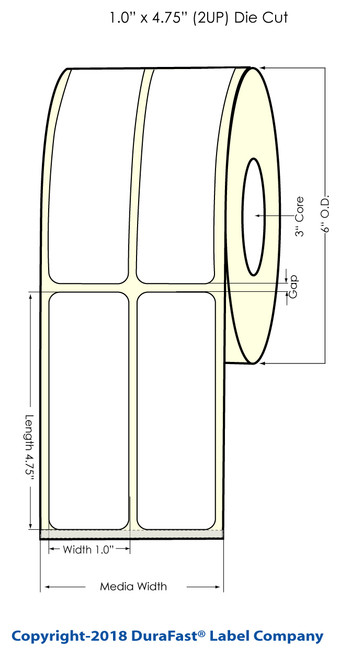 "L801 1"" x 4.75"" NP (2UP) Glossy BOPP Inkjet Labels 1050/Roll (934059)"