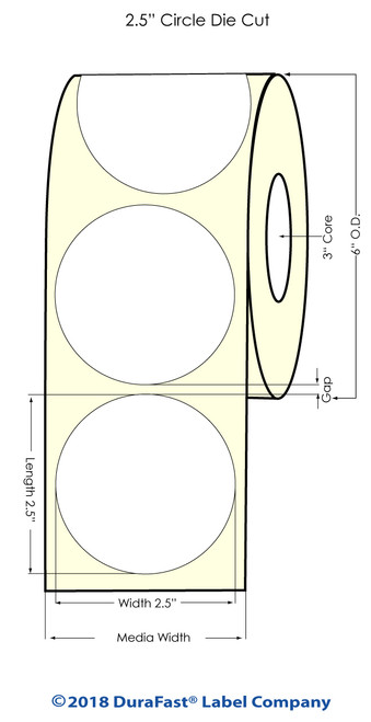 """L801 2.5""""Circle NP Glossy BOPP (Removable) 1000 Inkjet Labels/roll (934060)"""