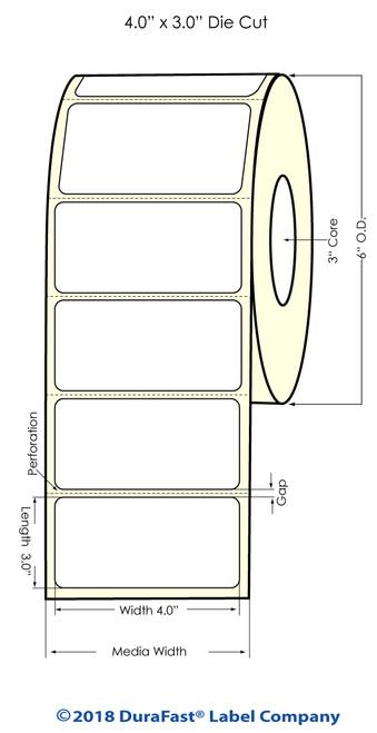 "300x - 4""x 3"" Glossy BOPP (Removable) 800 Inkjet Labels/roll (934064)"