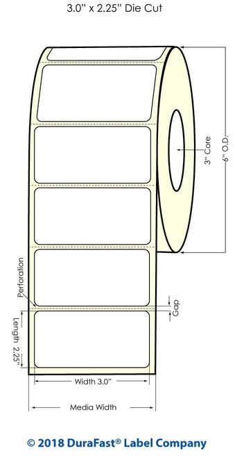 """LX900 3"""" x 2.25"""" White Polyester Inkjet Labels 1000/Roll (935007)"""