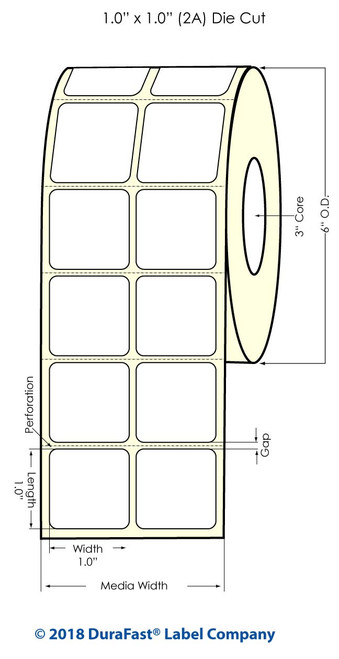 """LX900 1"""" x 1"""" (2A) Clear Polyester Inkjet Labels 3550/Roll (936001)"""
