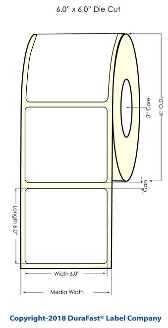 "L801 6"" x 6"" Clear BOPP Inkjet Labels 475/Roll (936011)"