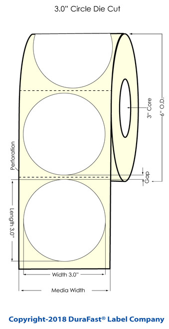 """TM-C7500G 3"""" Circle Clear Polyester Inkjet Labels 800/Roll (936012)"""