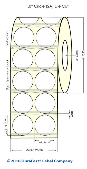 """TM-C7500G 1"""" Circle (2UP) Silver Polyester Inkjet Labels 4000/Roll (937016)"""