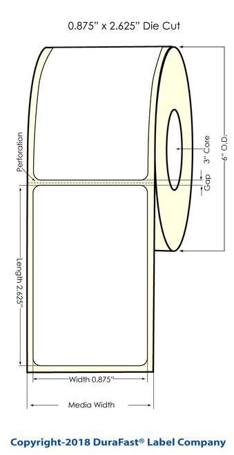 """LX900 0.875"""" x 2.625"""" Glossy BOPP (Es Oil) Inkjet Labels 1000/Roll (951001)"""