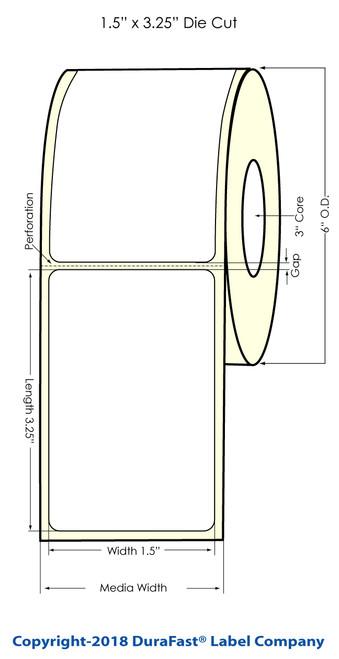"""LX900 1.5"""" x 3.25"""" Glossy BOPP (Es Oil) Inkjet Labels 830/Roll (951003)"""