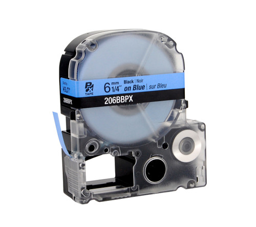 """Epson 206BBPX 1/4"""" Blue Glossy Polyester Label PX Tape"""