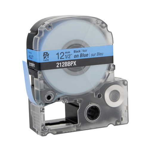 "Epson 212BBPX 1/2"" Blue Glossy Polyester Label PX Tape"