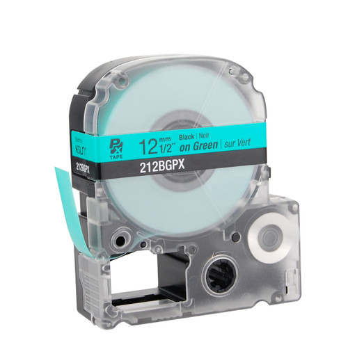 "Epson 212BGPX 1/2"" Green Glossy Polyester Label PX Tape"
