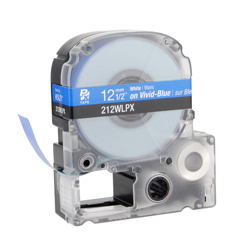 """Epson 212WLPX 1/2"""" Blue Glossy Polyester Label PX Tape"""