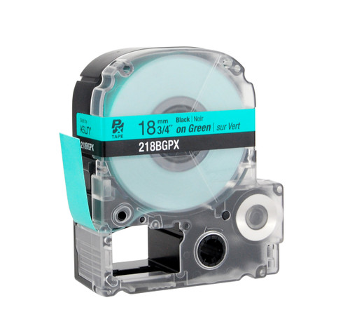 """Epson 218BGPX 3/4"""" Green Glossy Polyester Label PX Tape"""