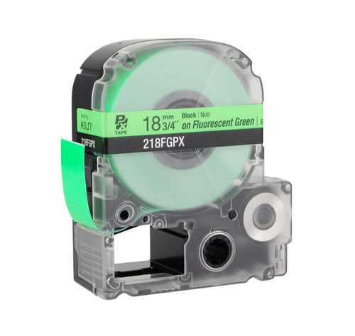"Epson 218FGPX 3/4"" Green Glossy Flourescent Label PX Tape"