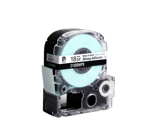 """Epson 218IBWPX 3/4"""" White Glossy Polyester Label PX Tape"""