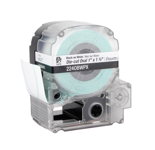 """Epson 224OBWPX 1"""" x 1.5"""" White Glossy Oval Die-Cut Label Tape"""