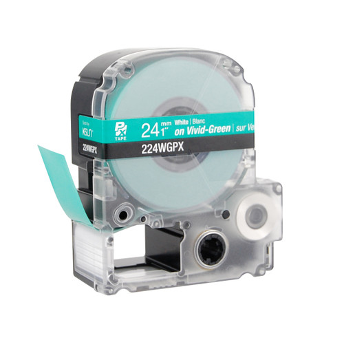 """Epson 224WGPX 1"""" Green Glossy Polyester Label PX Tape"""